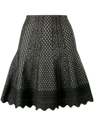 Alexander Mcqueen Laser Cut Knitted Skirt Black