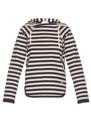 Chloe Striped Cotton Jersey Hooded Sweatshirt Navy Stripe