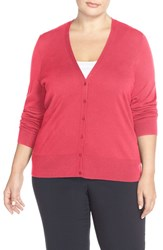 Plus Size Women's Sejour V Neck Cardigan Red Chateaux