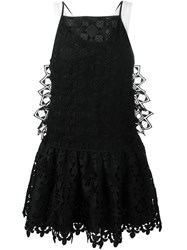 No21 Cut Out Embroidery Flared Dress Black