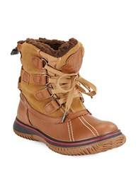 Pajar Iceland Waterproof Sherpa Lined Leather Ankle Boots Cognac