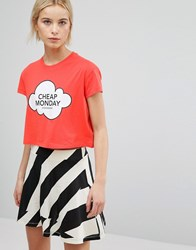 Cheap Monday Own T Shirt Coral Pink