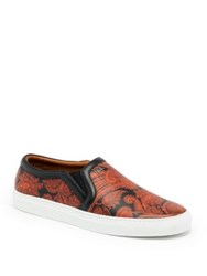 Givenchy Paisley Print Leather Sneakers Black Orange