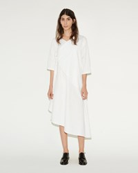 Phoebe English Gather Tie Shirt Dress White