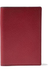 Smythson Woman Panama Textured Leather Passport Cover Red