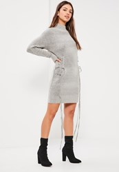 Missguided Grey Lace Up Slouchy Midi Dress