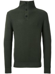 Kent And Curwen Buttoned High Neck Jumper Green