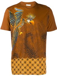 Etro Parrot And Paisley Print T Shirt Brown