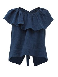 Loup Charmant Dominica Ruffled Cotton Seersucker Blouse Navy