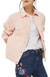 Topshop Petite Women's Ripped Elbow Denim Jacket Pink