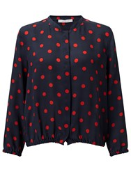 Marella Good Spot Silk Blouse Navy