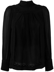 Etoile Isabel Marant Embroidered Long Sleeve Blouse Black