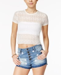 American Rag Sheer Cropped Lace T Shirt Only At Macy's Egret