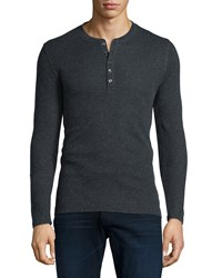 Majestic Cotton Cashmere Long Sleeve Henley Shirt Charcoal Grey