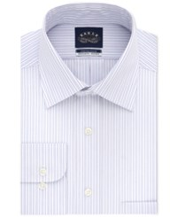 Eagle Classic Regular Fit Non Iron Flex Collar Performance Gray And Pink Stripe Dress Shirt Blue Crystal