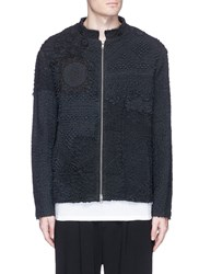 By Walid Floral Crochet Blouson Jacket Black