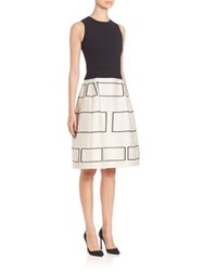 Narciso Rodriguez Contrast Fit And Flare Dress Black White