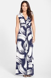 Women's Eliza J Brush Print Jersey Maxi Dress Navy Ivory