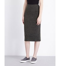 French Connection Sweeter Fitted Jersey Skirt Olive Black Mel