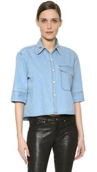 Etre Cecile La Vie Parisienne Crop Shirt Light Blue