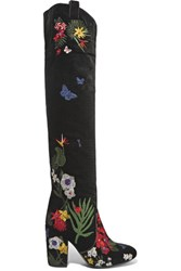 Laurence Dacade Silas Embroidered Velvet Boots Black