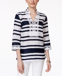 Charter Club Striped Crochet Trim Linen Tunic Only At Macy's Intrepid Blue