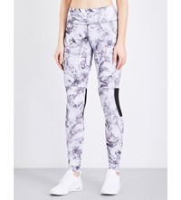 French Connection Comfort Marble Print Stretch Jersey Leggings Grey Marble