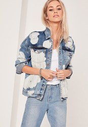 Missguided Bleached Drop Shoulder Denim Jacket Blue