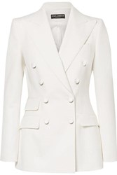 Dolce And Gabbana Double Breasted Wool Blend Blazer White