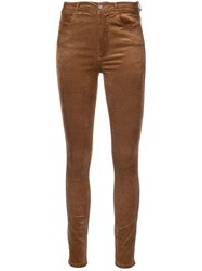 Paige High Waisted Skinny Trousers Brown