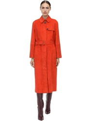 Salvatore Ferragamo Belted Suede Trench Coat Orange