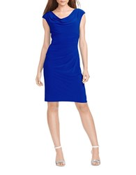 Lauren Ralph Lauren Cowlneck Jersey Dress Cannes Blue