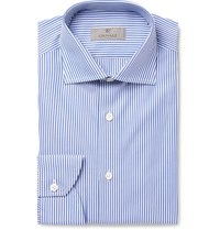 Canali Blue Slim Fit Bengal Striped Cotton Poplin Shirt Blue