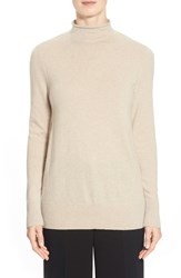 Lafayette 148 New York Funnel Neck Cashmere Sweater Khaki Melange
