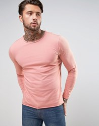 Another Influence Basic Raw Edge Long Sleeve Top Pink