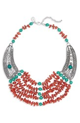 Natasha Multistrand Beaded Necklace Orange Multi