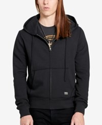 Denim And Supply Ralph Lauren Men's Camo Flag Zip Front French Terry Hoodie With Pockets Black