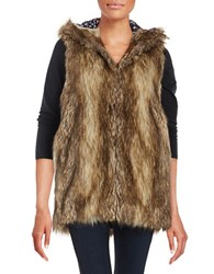 Bcbgeneration Hooded Faux Fur Vest Brown