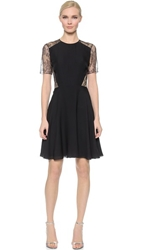 Jason Wu Short Sleeve Floral Lace Dress Black