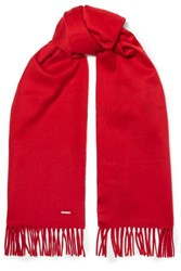 Loro Piana Fringed Cashmere Scarf Red