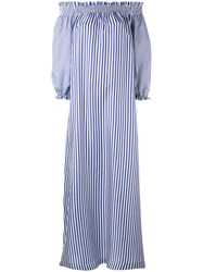 P.A.R.O.S.H. Long Striped Off The Shoulder Dress Women Silk S Blue