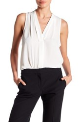 Vince Camuto Pleated V Neck Tank White