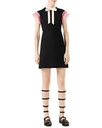 Gucci Cady Crepe Dress W Ruffle Sleeves Black Multi Multi Colored