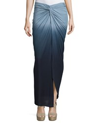 Young Fabulous And Broke Young Fabulous And Broke Ruched High Low Ombre Tie Dye Maxi Skirt Charcoal Ombre