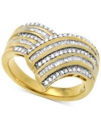 Macy's Diamond V Fancy Statement Ring 1 2 Ct. T.W. In 14K Gold Plated Sterling Silver