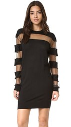 Mcq By Alexander Mcqueen Sheer Stripe Dress Darkest Black
