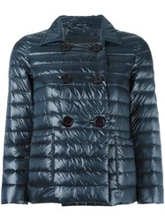 Herno Double Breasted Three Quarters Jacket Blue