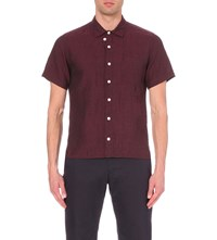 Oliver Spencer Regular Fit Linen Shirt Opie Burgundy