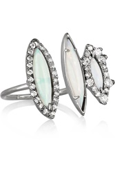 Kimberly Mcdonald 18 Karat Blackened White Gold Opal And Diamond Ring