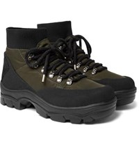 Moncler Clement Suede Trimmed Shell Hiking Boots Black